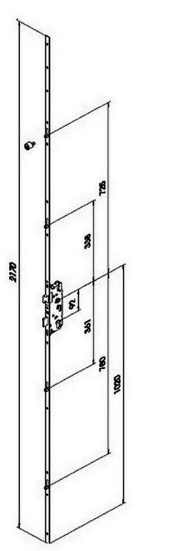 Замок рейка для дверей Fuhr 856 16/35/92  довжина 2170мм