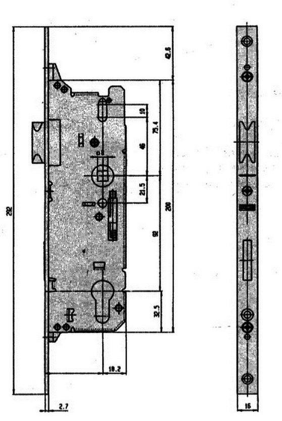Замок дверной Fuhr  803 штульп 16 мм дорнмас 25 мм