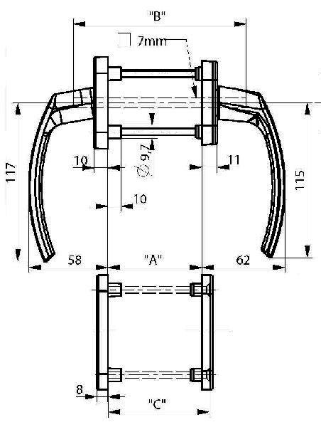 Ручка балконная двухсторонняя с накладками белая