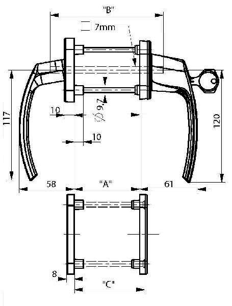 Ручка балконная двухсторонняя с ключом и розетками белая