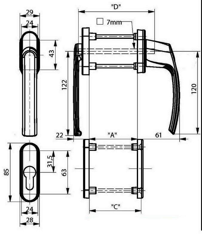 Ручка двухсторонняя под ролет с накладками на цилиндр белая