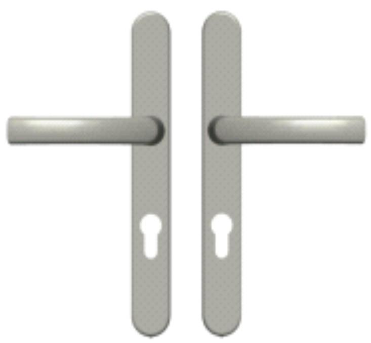 Дверной нажимной гарнитур Medos серебро
