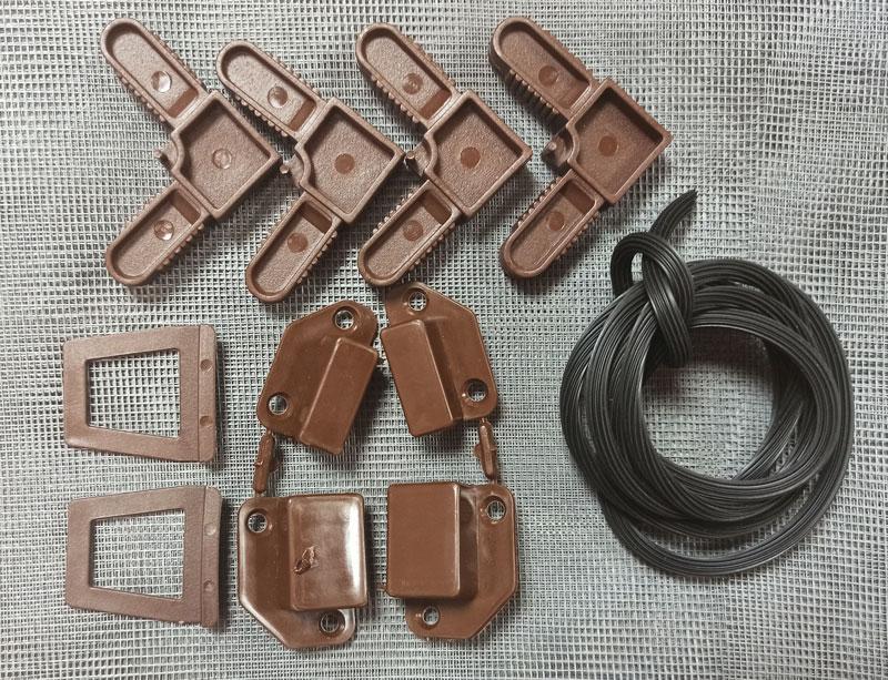 Комплект для ремонта наружной москитной сетки на окна коричневый