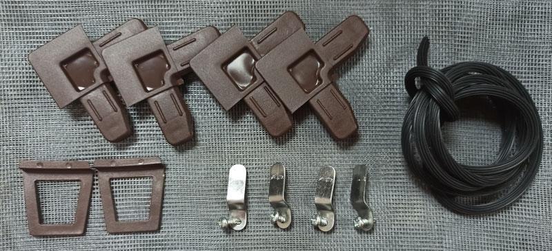 Комплект для ремонта внутрипроемной москитной сетки на окна коричневый