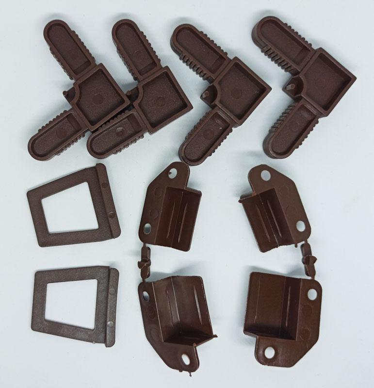 Комплект креплений для москитной сетки на окна коричневый