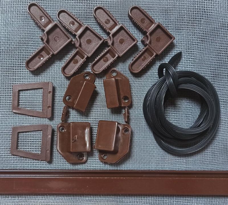 Набор для сборки наружной москитной сетки на окна коричневый