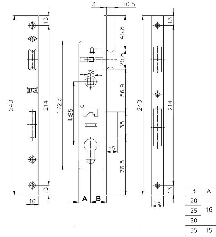 Замок Kale 153 P 35/85 мм